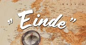 symboly : Digital animation of a white Einde sign appearing in the screen with a brown world map in the background