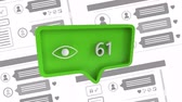 interactif : Digital animation of an eye icon with increasing number count in a green message bubble. The background has a compilation of social media posts and comments. The icon is used in social media