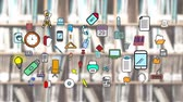 tankönyv : Digital animation of clip arts of everyday use items. The background is a blurry image of a library bookshelf