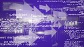graphs : Digital animation of arrows moving to the right of the screen. On the foreground are program codes with graphs Stock Footage
