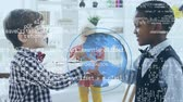 introducing : Digital animation of a Caucasian boy shaking hands with an African american boy. A Caucasian girl is seen in the background counting money. On the foreground is a rotating globe and program codes