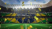 brazílie : Digital animation of a Brazilian stadium with confetti. The seats are colour codes to resemble the Brazilian flag