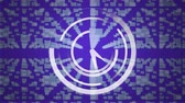 komuta : Digital animation of an analog clock in the middle of the screen while square patterns zooms out to form a lock with digital circuit. Violet background shows program codes moving. Stok Video