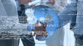introducing : Digital animation of a blue globe rotating while program codes move in the screen and background shows two businessmen shaking hands Stock Footage