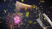 szampan : Digital composite of a bottle of champagne pouring into a glass while fireworks explode in the background and gold confetti fall in the screen.