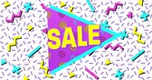 Animation of Bold Sale Advertisement in Retro Eighties Style appearing and moving 4k