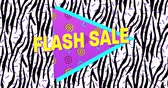 popart : Animation of Bold Flash Sale Advertisement in Retro Eighties Style appearing and moving 4k Wideo