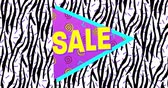 Animation of Bold Sale Advertisement in Retro Eighties Style appearing and moving against black and white screen 4k