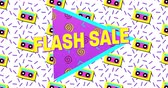 sıçramalarına : Animation of Bold Flash Sale Advertisement in Retro Eighties Style appearing and moving 4k Stok Video