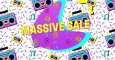 Animation of Bold Massive Sale Advertisement in Retro Eighties Style appearing and moving 4k
