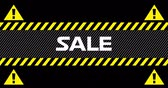 flash : Animation of Sale text between industrial ribbons and warning signs against black background. 4k