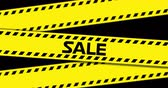 массивный : Animation of Sale text on yellow industrial ribbon against black background. 4k