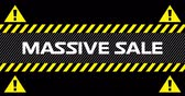 Animation of Massive Sale text between industrial ribbons and warning signs against black background. 4k