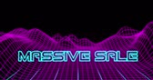 Animation of Neon Massive Sale text against retro digital mountains against black background 4k