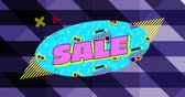 oval : Animation of the word Sale written in pink letters on a blue oval with audio cassettes and cassette players against a dark purple striped background with moving graphic elements 4k