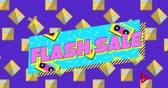 cena : Animation of the words Flash Sale in pink letters in a blue banner with moving audio tape cassettes, on a purple background with calculators 4k