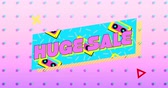 audiocassetta : Animation of the words Huge Sale in pink letters on a turquoise banner with moving graphic and shapes on a pink background with dots 4k