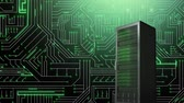 überweisung : Animation of mainframe computer tower in front of a computer circuit board with green glowing light trails moving through it in the background Stock Footage