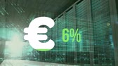 ocena : Animation of Euro currency symbol and increasing percentage numbers filling with green and reaching fifty nine per cent while in the background layers of blue glowing digital data move over mainframe computers in a server room