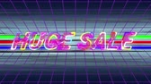 축소 : Animation of the words Huge Sale in changing multi-coloured italic capital letters with electrical current moving over them, on a purple grid and three green, red and blue moving horizontal lines and