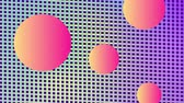 Animation of three floating orange spheres against a mesh background changing colour between blue, yellow and purple Stock Footage