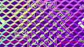 bright colors : Animation of a kaleidoscope of green and purple striped star shapes seen through a diamond shaped mesh reflecitng changing colours from yellow to blues and purple Stock Footage