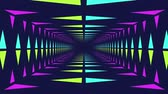 эффекты : Animation of pink paint effect covering and uncovering moving bright neon triangles travelling to and from a central vanishing point on black background Стоковые видеозаписи