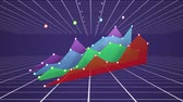 Animation of colourful 3d graph in red, green, blue and purple building over a purple background with a grid top and bottom mowing towards the horizon Stock Footage