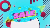 azaltmak : Animation of the word Sale in pink letters on blue background with moving spirals and red, yellow  and white graphic elements