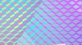 işareti ok : Animation of blank direction and road signs, one with a pink arrow frame, appearing on a reflective diamond shaped mesh, changing colour in waves from from blue, to yellow and purple, a soft lilac background behind Stok Video