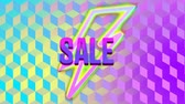 cıvata : Animation of lightning flash symbols enlarging towards viewer and the word Sale written in pink and purple appearing on a yellow, pink and blue striped outline lighting flash shape, with a changing background of colourful cubes
