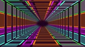 bright colors : Animation of travelling through a neon lit rectangular tunnel towards a black vanishing point on the horizon Stock Footage