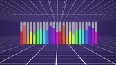 contabilità : Animation of a grey bar chart appearing from left to right on a moving white grid against a dark purple background and filling to different levels with rainbow colours, then disappearing from left to right Filmati Stock