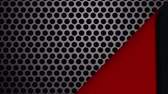 Animation of black striped wallpaper peeled back to reveal red underside and metal grille with circular holes, then covering up again Stock Footage