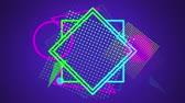 párhuzamos : Animation of colourful triangles enlarging while colourful geometric outline shapes cluster together on a gradient purple background