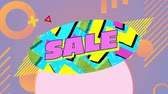 lilás : Animation of the word Sale in pink letters in a blue oval with moving circular and linear graphic elements that disappear, on a lilac background Vídeos