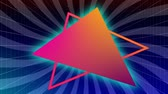 çizgili : Animation of an orange and pink outline triangle and a filled orange and pink triangle with a pale blue flashing glow around it appearing on a rotating dark and light purple striped background