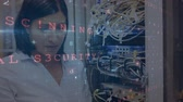 Animation of a Caucasian woman seen head and shoulders, working in a computer server room with digital text about data security moving in the foreground Stock Footage