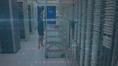 cortafuegos : Animation of a Caucasian woman pushing ladder on wheels in the corridor of a computer server room checking connections while digital text about data security moves and flashes in the foreground