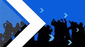 applaus : Animation of silhouetted crowd dancing against a blue background with a large white arrow and small blue arrows coming in from left of screen Stockvideo