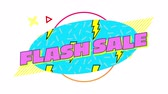 Animation of the words Flash Sale written in pink letters floating over a blue oval with scrolling yellow lightning flashes on a white background with moving graphic elements