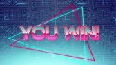 power line : Animation of the words You Win! coloured in pink and metallic shining silver appearing with a red and a blue glowing outline triangle on a moving background view of a circuit board with blue glowing light trails Stock Footage