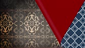 exposto : Animation of blue patterned wallpaper peeled back from bottom left corner to reveal red underside and brown patterned wallpaper below, before covering up again