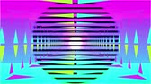 concêntrico : Animation of travelling through a neon lit rectangular tunnel towards a black vanishing point on the horizon while colourful concenrtic circles formed from parallel horizontal lines appear in the foreground