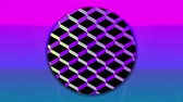 bestelling : Animation of colourful concentric circles enlarging and diminishing from the centre over a pink sunset, with a background of a reflective diamond shaped grid chaning colour from yellow to blue to purple, against black