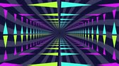 tünel : Animation of a moving rectangular tunnel, lit with neon triangles moving towards a black vanishing point Stok Video