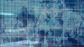 tracing : Animation of arrow, grid and map of the world moving on blue background Stock Footage