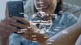 seguridad social : Animation of globe, data and connection network spinning while a young mixed race woman is using a smartphone in the background