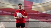 английский : Animation of a Caucasian male rugby player playing with a ball and looking to camera with blowing English flag and stadium in the background