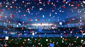 football field : Animation of colourful confetti falling down in front of sports stadium